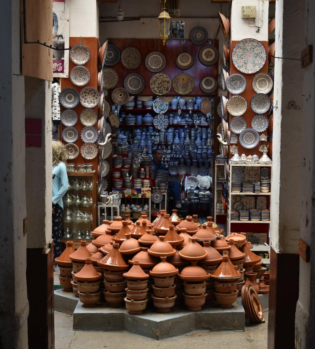 Pottery stall in Fes