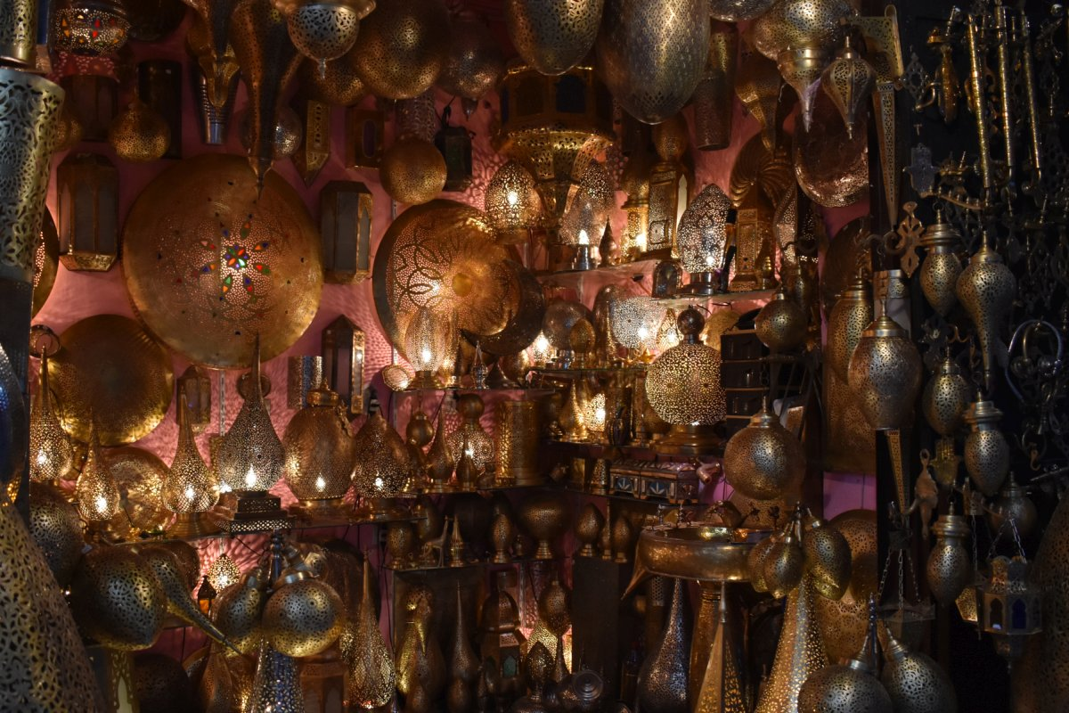 Metal filigree shop in Fes